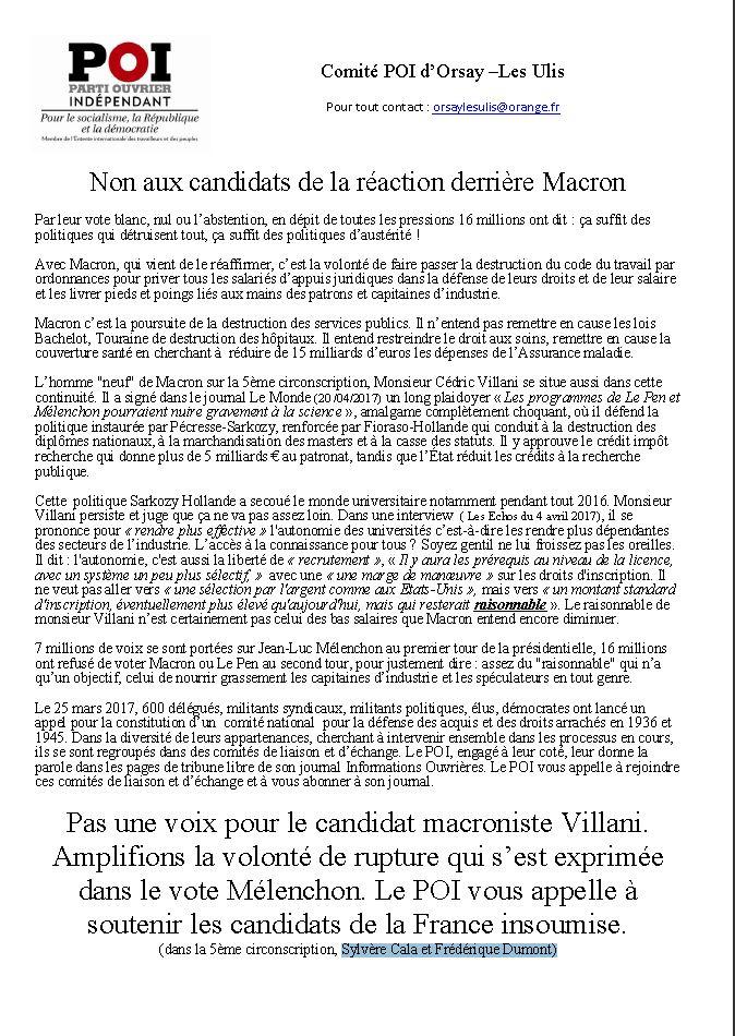 Le comité du POI d'Orsay –Les Ulis appelle à voter pour Sylvère Cala et Frédérique Dumont candidats de la France Insoumise dans la 5ème circonscription. dans COMMUNIQUES POI-91-Orsay-Les-Ulis